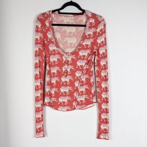 Intimately Free People Elephant Thermal Henley Top